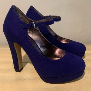 Elle Mary Jane Platform Womens Shoes Sz 8 Blue